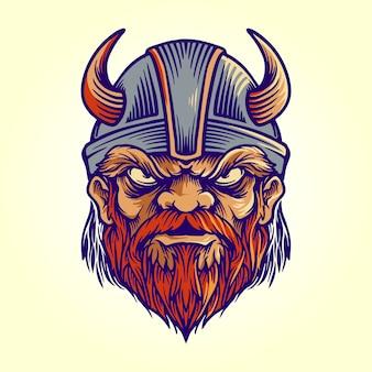 Maskotka viking logo kask ilustracja
