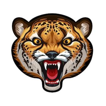 Maskotka. wektor głowa geparda na białym tle