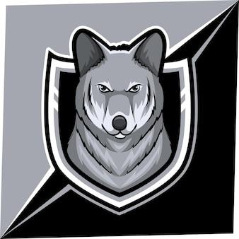 Maskotka wilka do logo sportu i e-sportu