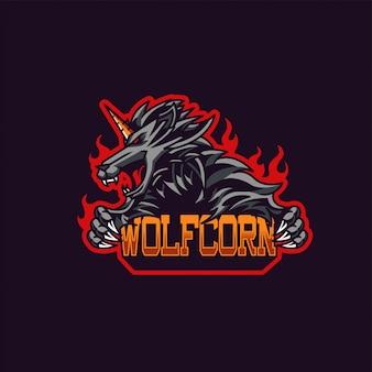 Maskotka wilka x jednorożca i logo gier esportowych