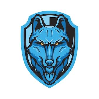 Maskotka wilkołak logo głowy drużyny sportowej