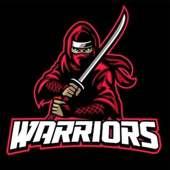 Maskotka wojownika ninja trzyma miecz
