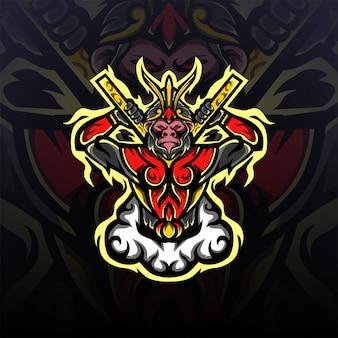 Maskotka Z Logo E-sportu W Dzikim Królu Małp Premium Wektorów