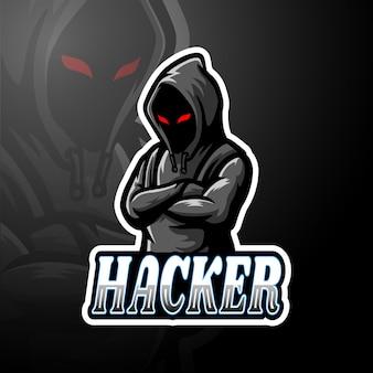 Maskotka z logo hakera esport