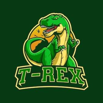 Maskotka z logo t rex dla esportu i sportu