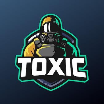 Maskotka z maską gazową do logo sportu i e-sportu