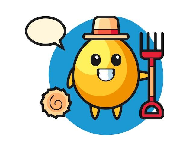 Maskotka złote jajko jako rolnik, ładny styl