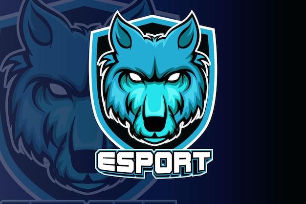 Maskotka zły wilki do sportu i logo e-sportu na białym tle