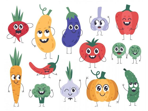 Maskotki warzyw. szczęśliwa marchewka, słodkie postacie ogórka i dyni, zabawna maskotka wegetariańskie jedzenie, zestaw ikon emocji komiks warzywa. ilustracja ogórek i dynia, brokuły i pomidory