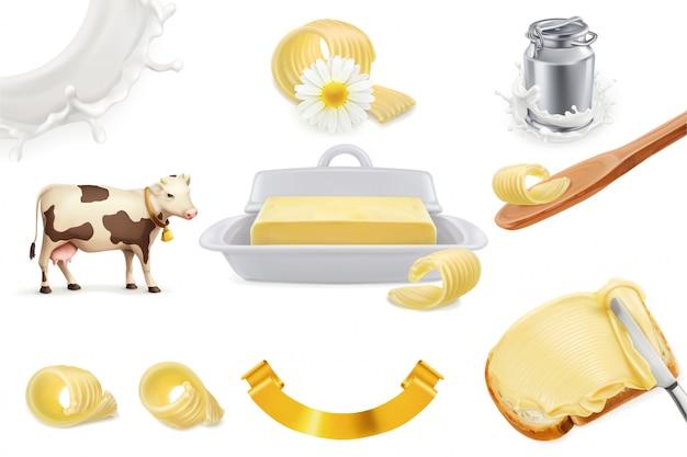 Masło. gospodarstwo mleczne realistyczny zestaw