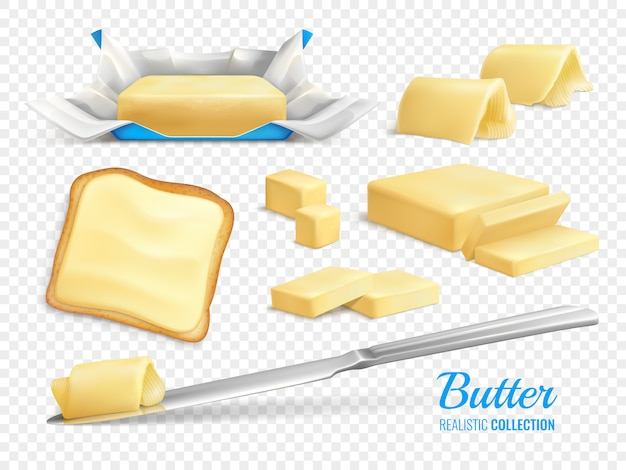 Masło wtyka realistycznego setu i odizolowywa ilustracja odizolowywającą