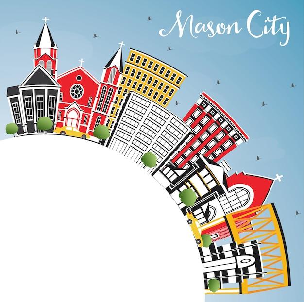 Mason city iowa skyline z kolorowymi budynkami, błękitnym niebem i przestrzenią do kopiowania. ilustracja wektorowa. podróże służbowe i turystyka ilustracja z zabytkową architekturą.