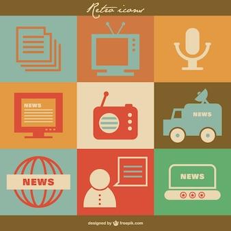 Mass media ikon wektorowych retro