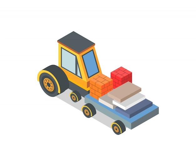 Maszyna budowlana z załadowanymi cegłami i pudełkami