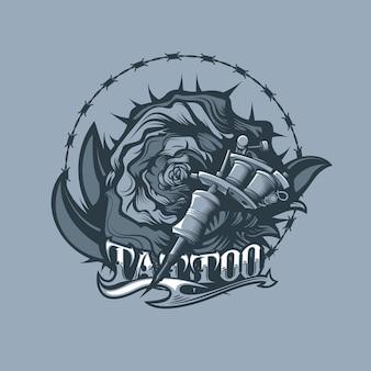 Maszyna ciernie, róża i tatuaż. monochromatyczny styl tatuażu.