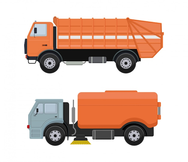 Maszyna do czyszczenia dróg wektor pojazd ciężarówka zamiatarka cleaner mycia