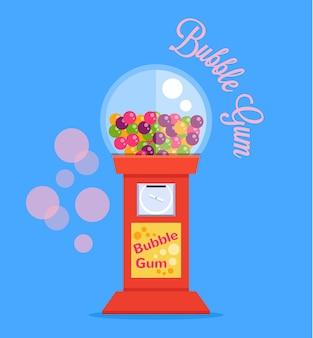 Maszyna do gumy balonowej, płaska ilustracja