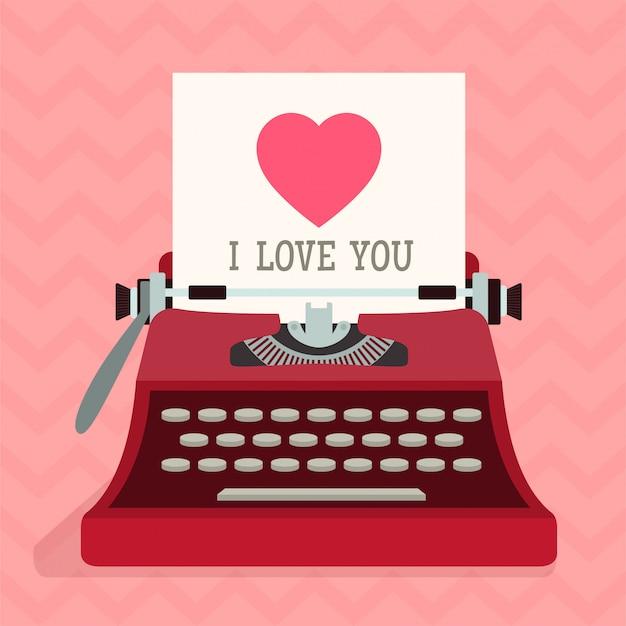 Maszyna do pisania z sercem miłości. walentynki.