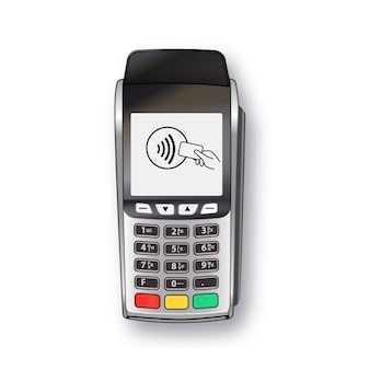 Maszyna płatnicza terminal pos bank terminal płatniczy szablon projektu makieta wektor realistyczne srebro jest...