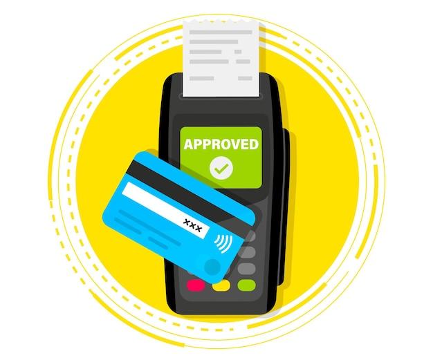 Maszyna płatnicza. terminal pos. płatności nfc. płatność kartą kredytową przy użyciu terminala pos z włożoną kartą kredytową i wydrukiem paragonu. terminal potwierdza płatność. urządzenie płatnicze banku nfc. widok z góry