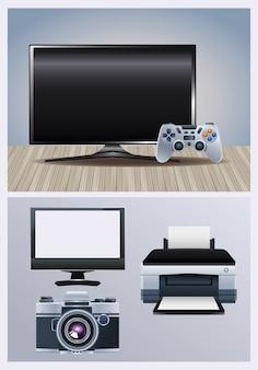 Maszyna sprzętowa drukarki z monitorem i kamerą