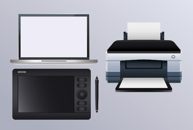 Maszyna sprzętowa drukarki z tabletem graficznym i laptopem
