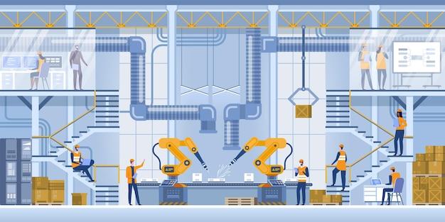 Maszyna z ramionami robota w inteligentnej fabryce przemysłowej na monitoringu