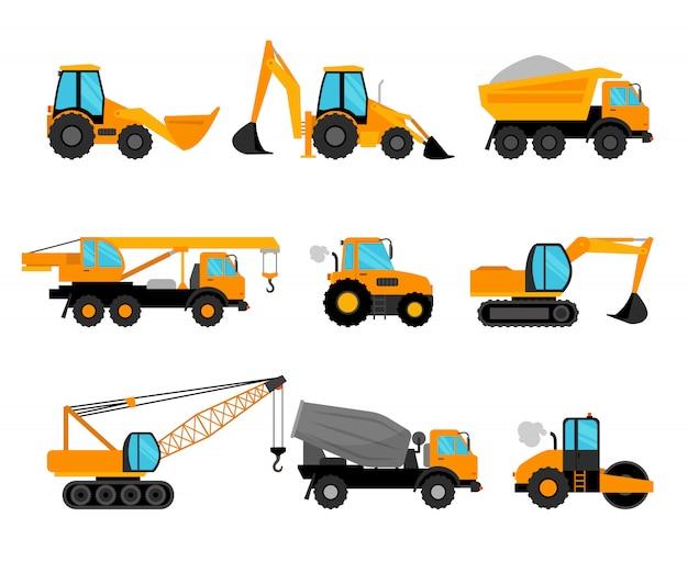 Maszyny budowlane i ikony urządzeń budowlanych budynku