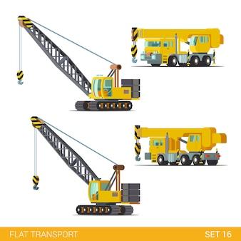 Maszyny budowlane specjalne maszyny płaskie izometryczny styl ilustracji koncepcja dźwig budowlany kolekcji płaskiego świata
