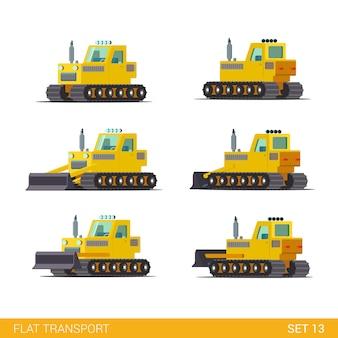 Maszyny budowlane specjalne maszyny płaskie izometryczny styl ilustracji koncepcja płaski świat kolekcji