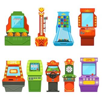 Maszyny do gier. zdjęcia wektorowe w stylu kreskówki