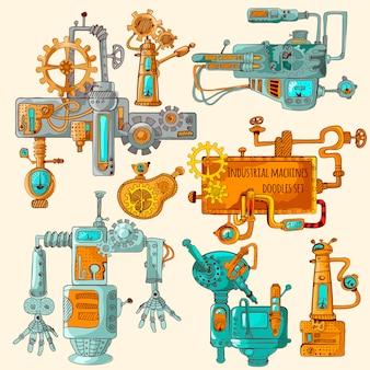 Maszyny przemysłowe doodles w kolorze