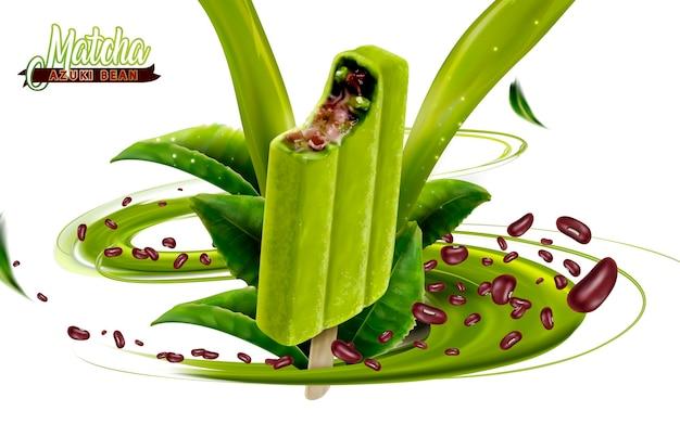 Matcha azuki bean ice cream bar ads illustration illustration