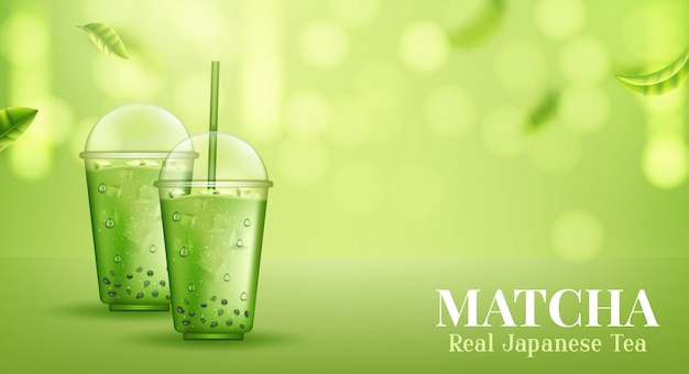 Matcha. ceremonia organicznej zielonej herbaty matcha.
