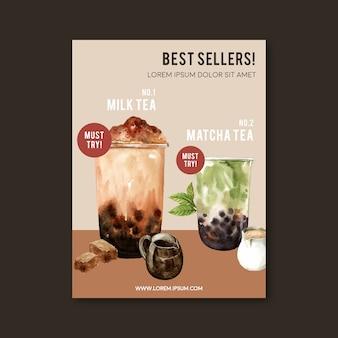 Matcha i zestaw do herbaty mleka bąbelek brązowy cukier, reklama plakat, szablon ulotki, ilustracja akwarela