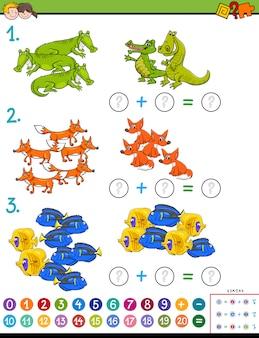 Matematyczna gra odejmowania dla dzieci ze zwierzętami