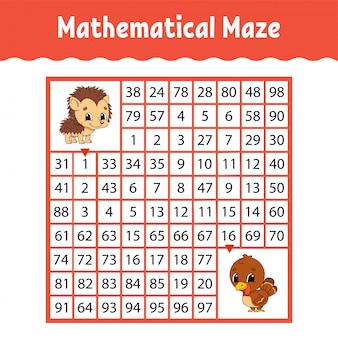 Matematyczne kolorowe labirynt kwadratowy. arkusz rozwijający edukację.