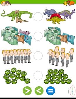 Matematyczne puzzle większych, mniejszych lub równych