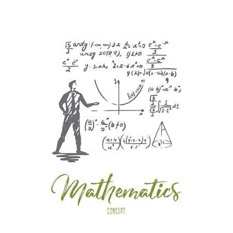 Matematyka, edukacja, nauka, szkoła, koncepcja studiów. ręcznie rysowane naukowiec i szkic koncepcji formuły matematycznej.