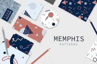 Materiały piśmienne w stylu Memphis