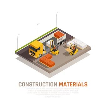 Materiału budowlanego isometric skład z placem budowy i ciężarówką rozładowywa pracownikami z editable teksta wektoru ilustracją