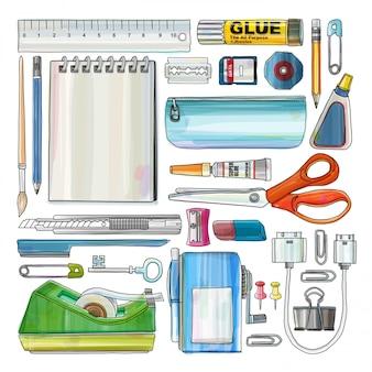 Materiały biurowe izolować tło, zestaw rysunków papierniczych, styl kolor wody, ilustracja