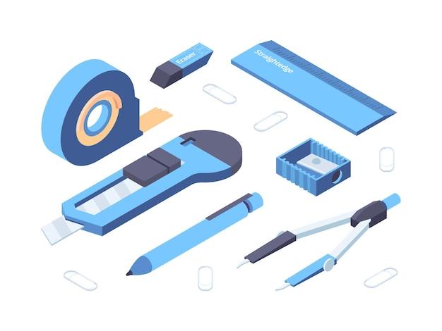 Materiały biurowe. izometryczne zdjęcia kolekcji klejącej taśmy ostrzałka, ołówek, gumka i linijka