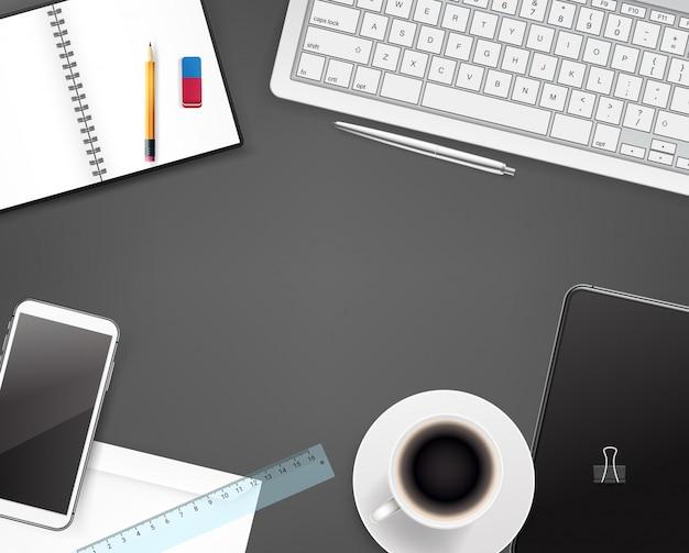 Materiały biurowe, różne rzeczy biznesowe na stole, widok z góry