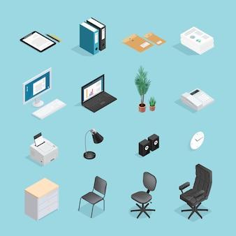 Materiały biurowe zestaw ikon izometryczny