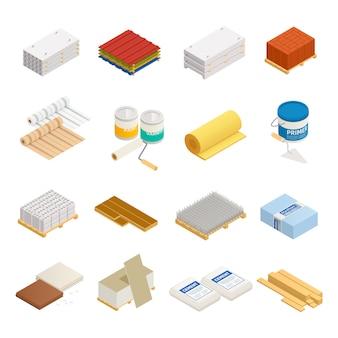 Materiały izometryczne ikony materiałów budowlanych zbiór szesnastu izolowanych obrazów ze sprzętem i materiałami budowlanymi