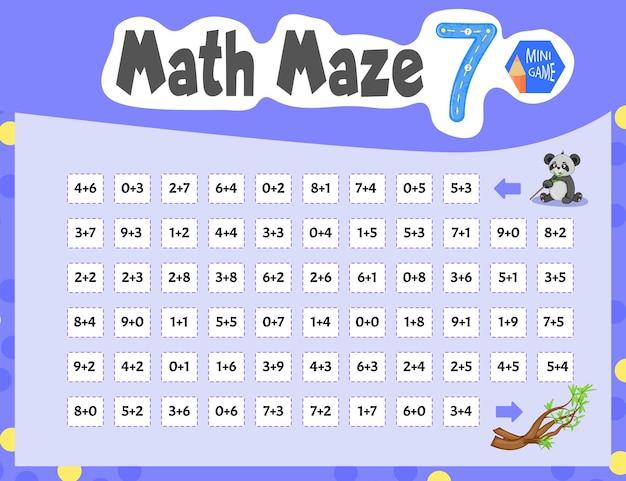 Math maze to mini gra dla dzieci. styl kreskówki. ilustracja wektorowa.