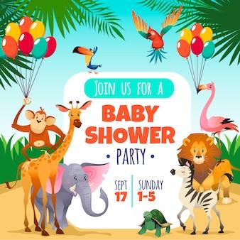 Matka baby shower. szablonu zaproszenia dzieci bawją się powitania dziecka tropikalnych zwierząt kartę, kreskówki ilustracja