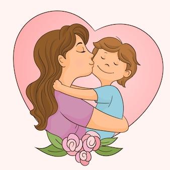 Matka całuje jej syna