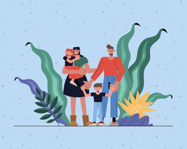 Matka córka ojciec i syn z liści projekt, relacje rodzinne i motyw pokolenia
